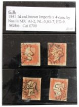 GB - 1841 1d Red Brown, imperfs, cancelled with black numeral MX's, No's 2/5/7/9, cat £700. (4)