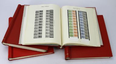 GB - collection in 4x red Windsor albums, mint or used, useful QV Line engraved with many Plate No'