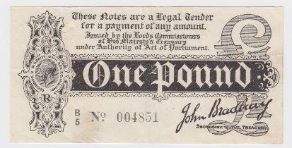 Bradbury 1 Pound issued 1914, Royal Cypher watermark, serial B/5 004851 (T3.3, Pick347) one set of