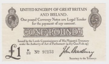 Bradbury 1 Pound issued 23rd October 1914, serial K/22 92153 (T11, Pick349a) two tiny pinholes,