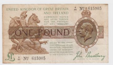 Bradbury 1 Pound issued 1917, FIRST SERIES with HIGH '99' prefix, serial A/99 615905 (T16,