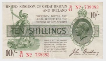 Bradbury 10 Shillings issued 16th December 1918, red serial No. B/41 738383, No. with dash (T20,