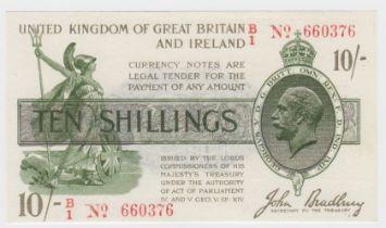 Bradbury 10 Shillings issued 16th December 1918, scarce FIRST RUN 'B/1' prefix, red serial No. B/1