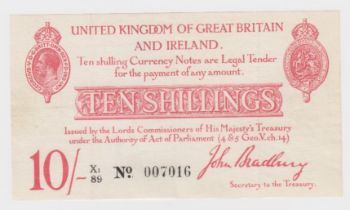 Bradbury 10 Shillings issued 1915, 6 digit serial number X1/89 007016 (T13.2, Pick348a) 3 vertical