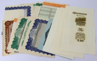 Manuscripts, PROOF share warrants, bonds, certificates etc. including Ionian Bank Limited PROOFS