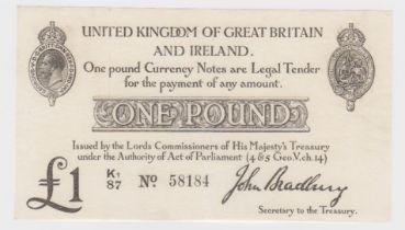 Bradbury 1 Pound issued 23rd October 1914, serial K1/87 58184 (T11.2, Pick349a) pinhole, pressed