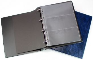 Albums, Banknote albums (2), good quality albums with sleeves and dividers and slipcases, Blue