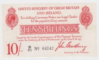 Bradbury 10 Shillings issued 1915, 5 digit serial number B/31 64742 (T12.1, Pick348a) original VF+