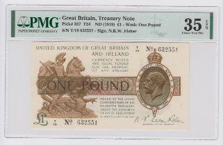 Warren Fisher 1 Pound issued 1919, serial T/19 632551 (T24, Pick357) in PMG holder graded 35 EPQ