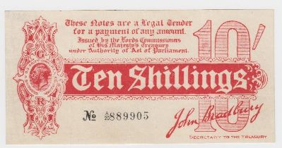 Bradbury 10 Shillings issued 1914, Royal Cypher watermark, serial A/20 889905, No. with dash (T9,