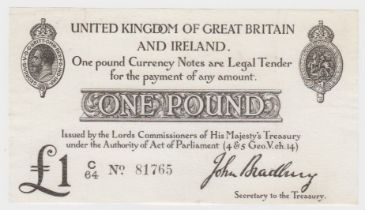 Bradbury 1 Pound issued 23rd October 1914, serial C/64 81765 (T11, Pick349a) pressed about EF