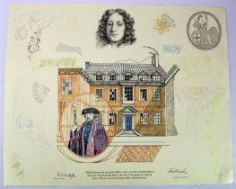 Limited edition design sketch of a Bank Gatekeeper and Sir John Houblon's house in Threadneedle