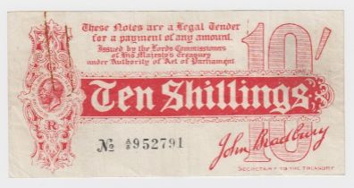 Bradbury 10 Shillings issued 1914, Royal Cypher watermark with 'TAGE' also seen in watermark from