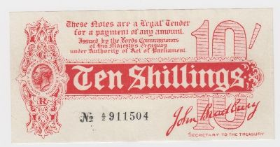 Bradbury 10 Shillings issued 1914, Royal Cypher watermark, serial A/2 911504, No. with dash (T9,
