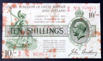 Bradbury 10 Shillings issued 1918 serial B/6 970074, scarce issue RED No. with Dot (T19, Pick350b)