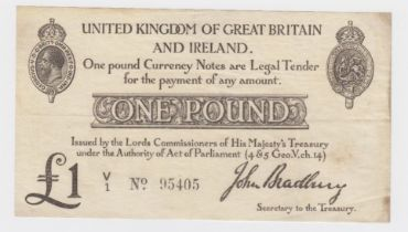 Bradbury 1 Pound issued 23rd October 1914, nice Number 1 prefix, serial V/1 95405 (T11, Pick349a)