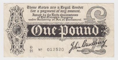Bradbury 1 Pound issued 1914, Royal Cypher watermark, serial No. with dash, serial D/22 012520 (T5.