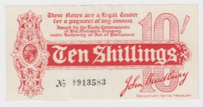 Bradbury 10 Shillings issued 1914, Royal Cypher watermark with 'GE' from 'postage' seen in
