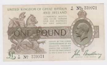 Bradbury 1 Pound issued 1917, serial C/45 239971 (T16, Pick351) pinholes, water stain, otherwise