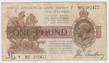 Bradbury 1 Pound issued 1917, FIRST PREFIX of LAST SERIES, serial H/1 382477 (T16, Pick351)