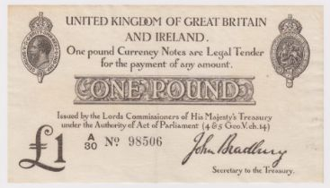 Bradbury 1 Pound issued 23rd October 1914, FIRST SERIES 'A' prefix, serial A/30 98506 (T11.1,