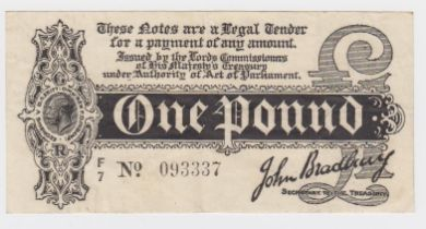 Bradbury 1 Pound issued 1914, Royal Cypher watermark, serial F/7 093337 (T3.3, Pick347) original VF