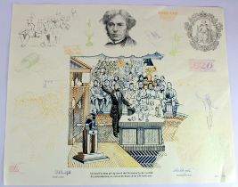 Limited edition design sketch of Michael Faraday giving one of his Christmas Lectures at the Royal