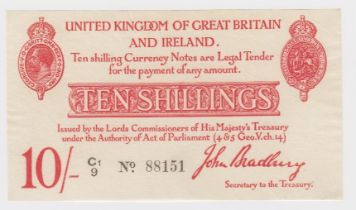 Bradbury 10 Shillings issued 1915, 5 digit serial number C1/9 88151 (T12.2, Pick348a) cleaned &
