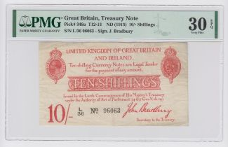 Bradbury 10 Shillings issued 1915, 5 digit serial number L/36 96063 (T12.1, Pick348a) in PMG