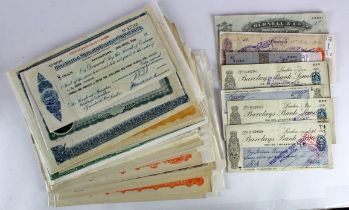 Share Certificates, Stocks, Cheques (40), an interesting group comprising St. Albans & Swanton