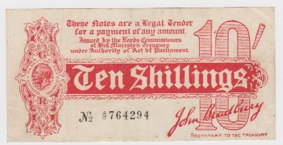 Bradbury 10 Shillings issued 1914, serial A/17 764294, No. with dash (T9, Pick346) small tear at