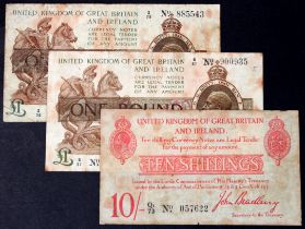 Treasury (3), Bradbury 10 Shillings Q1/73 057622 (T13), 1 Pound C/57 900935 (T16), Warren Fisher 1