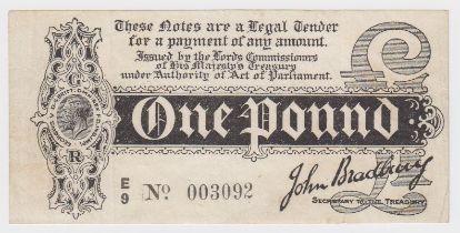 Bradbury 1 Pound issued 1914, Royal Cypher watermark, serial E/9 003092 (T3.3, Pick347) tiny edge
