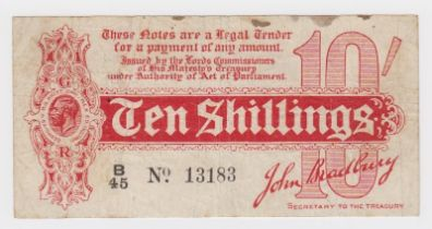 Bradbury 10 Shillings issued 1914, Royal Cypher watermark, serial B/45 13183, No. with dot (T10,