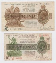 Warren Fisher (2), 10 Shillings issued 1927, scarcer Northern Ireland issue, serial T/54 017851 (