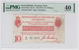 Bradbury 10 Shillings issued 1915, 5 digit serial number K/61 31877 (T12.1, Pick348a) in PMG