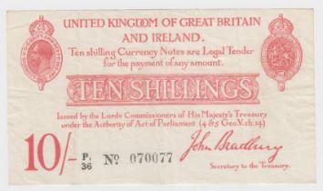 Bradbury 10 Shillings issued 1915, 6 digit serial number P1/36 070077 (T13.2, Pick348a) original VF
