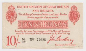 Bradbury 10 Shillings issued 1915, LAST RUN 'C2' prefix, 5 digit serial number C2/28 77925 (T12.3,
