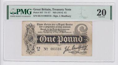 Bradbury 1 Pound issued 1914, Royal Cypher watermark, serial EE/14 085516 (T6, Pick347) in PMG
