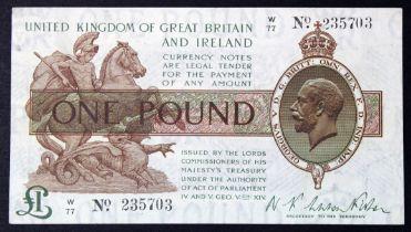 Warren Fisher 1 Pound issued 1919, serial W/77 235703 (T24, Pick357) VF+