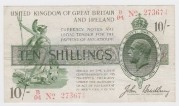 Bradbury 10 Shillings issued 16th December 1918, red serial No. B/94 273674, No. with dash (T20,