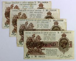 Warren Fisher 1 Pound (4), 1 Pound issued 30th September 1919 (2), serial L/26 249111 and R/97