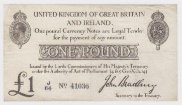 Bradbury 1 Pound issued 23rd October 1914, serial J/64 41036 (T11, Pick349a) edge nick, Fine+