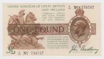 Bradbury 1 Pound issued 1917, CONTROL NOTE 'Z' prefix, serial Z/13 734242 (T16, Pick351) pressed VF