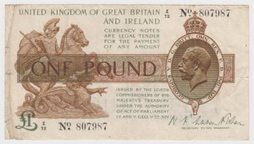 Warren Fisher 1 Pound issued 1919, a rarer CONTROL NOTE serial Z/73 807987 (T24, Pick357) edge nicks