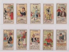 Trade cards, King's Specialities, Proverbs, 14 cards nos 3, 5, 6, 8, 9, 10, 11,12, 14, 17, 19, 21,