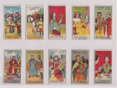 Trade cards, King's Specialities, Unrecorded History, 10 cards nos 1, 2, 4 (x2 different) 5, 6, 8,