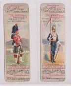 Trade cards, Singer, Bookmarks, British Regiments, two bookmarks, Black Watch & 17th Lancers (