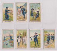 Trade cards, Maynard's, Girl Guide Series, 7 cards, Bathing, Child Nursing, Cycling, Flag