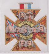 Trade card, Singer, Transvaal War souvenir, shaped as Victoria Cross, Queen Victoria to centre